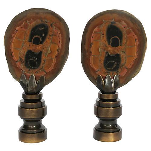 Split Septarian Lamp Finials, Pair