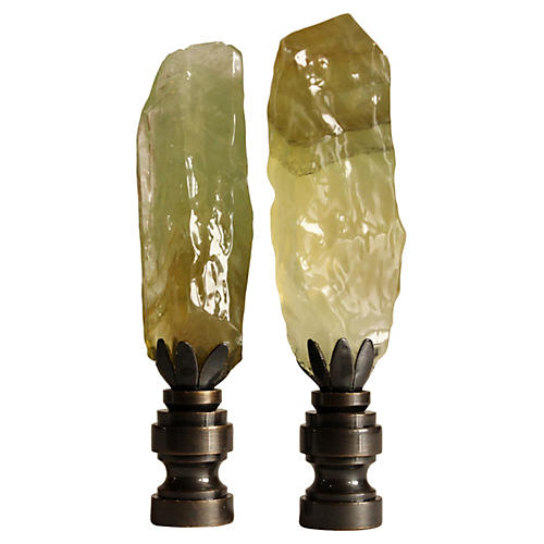 Green Calcite Lamp Finials, S/2