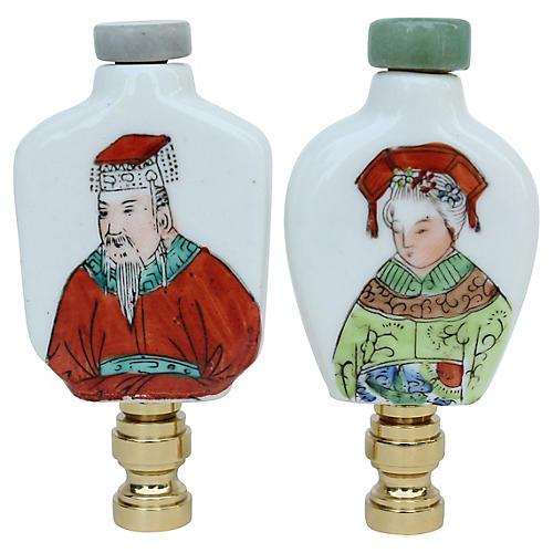 Chinese Porcelain Lamp Finials, Pair