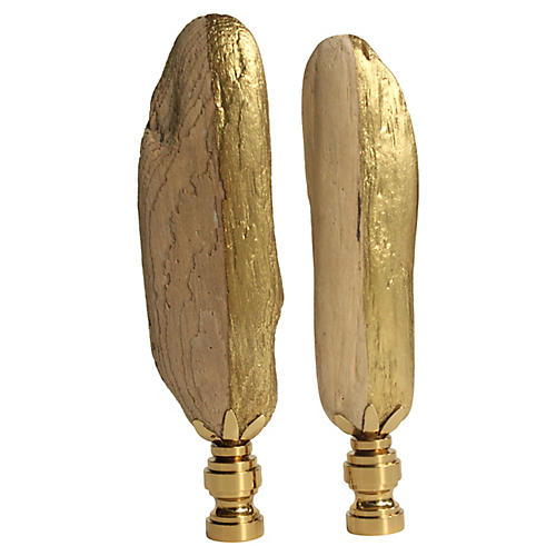 Golden Driftwood Lamp Finials, Pair