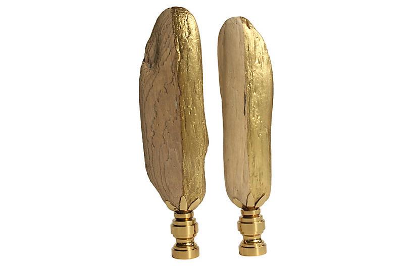 Golden Driftwood Lamp Finials, Pair
