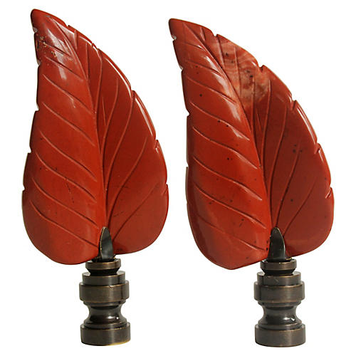 Autumn Leaf Lamp Finials, Pair
