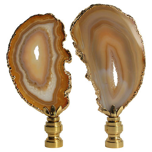 Gold Gilded Agate Lamp Finials, Pair