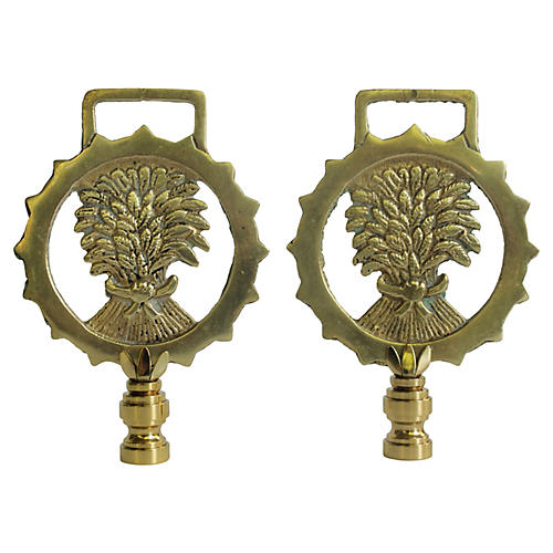 Wheat Sheaf Brass Lamp Finials, Pair