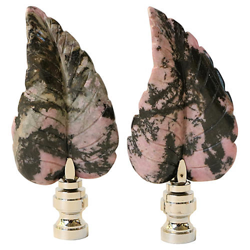 Rhodonite Leaf Lamp Finials, Pair