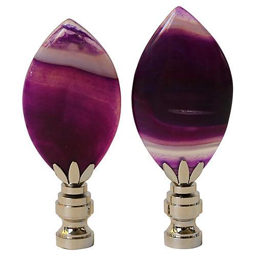 Purple Agate Lamp Finials, Pair