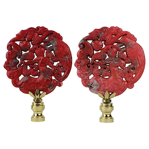 Asian Fauna Lamp Finials, Pair