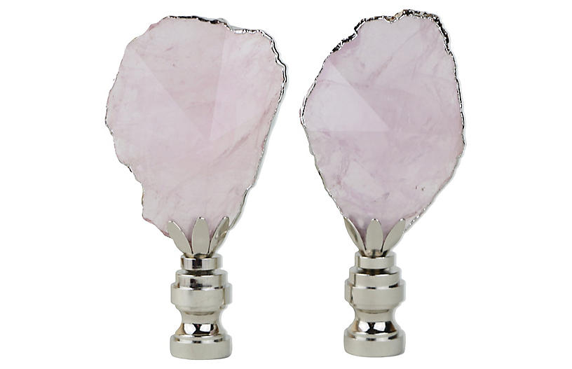 Silvered Rose Quartz Lamp Finials, Pair
