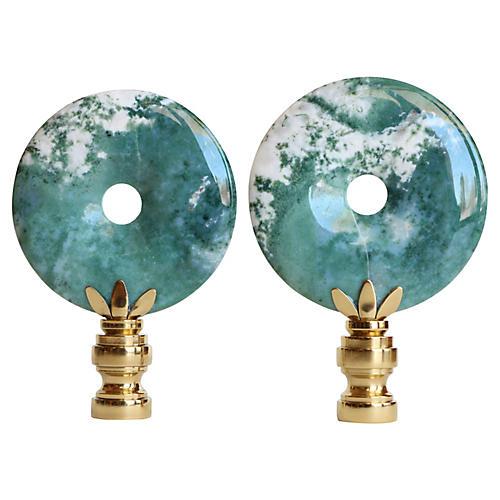 Indian Agate Lamp Finials, Pair