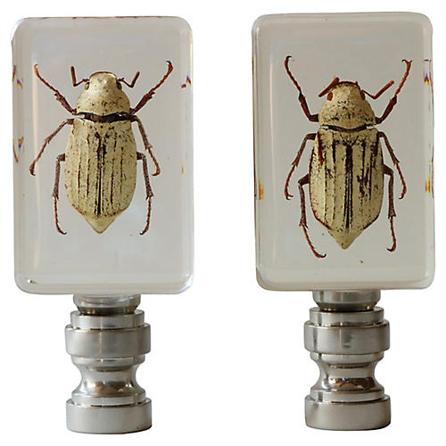 Snow Scarab Lamp Finials, Pair