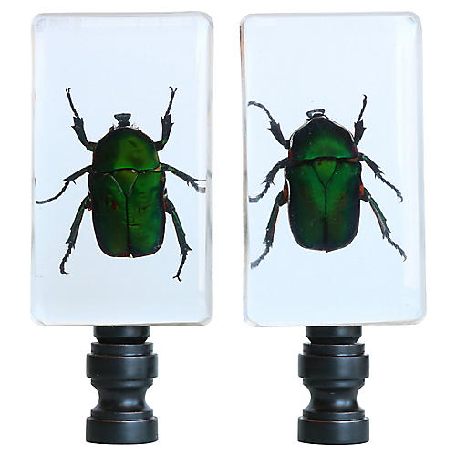 Green Scarab Lamp Finials, Pair