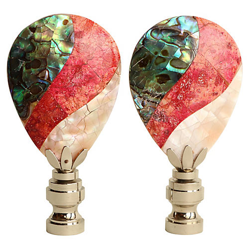 Mother-of-Pearl Lamp Finials, Pair