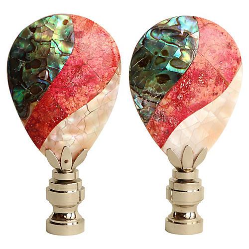 Mother-of-Pearl Lamp Finials, Pair