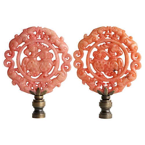 Wreathed Qilin Lamp Finials, Pair