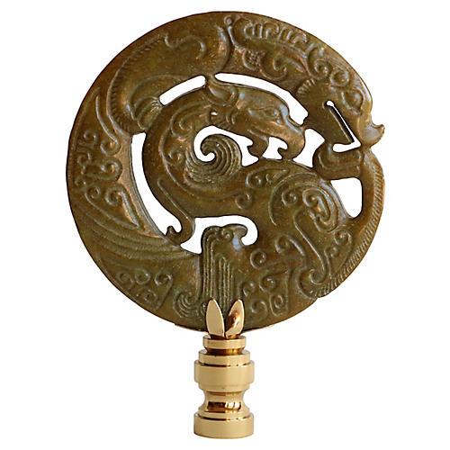 Asian Coiled Dragon Lamp Finial