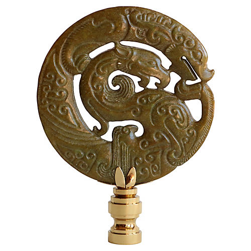 Asian Coiled Dragon Lamp Finial