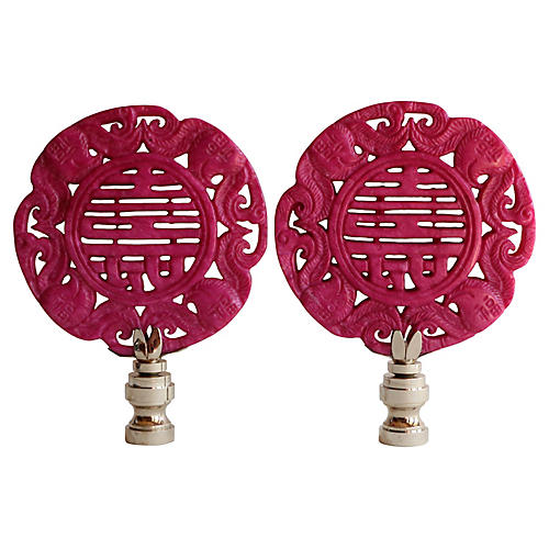Asian Calligraphy Lamp Finials, Pair