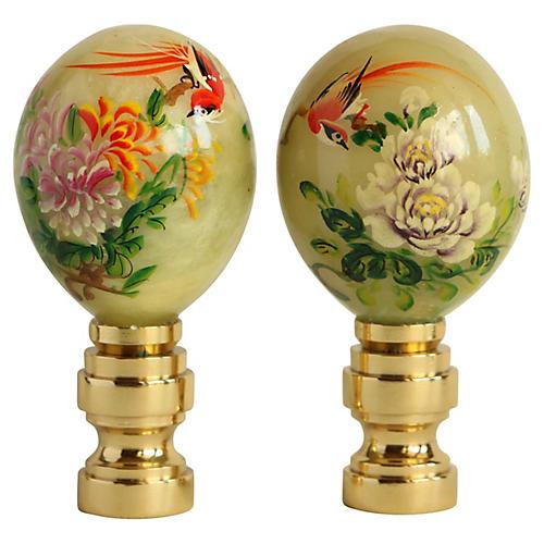 Jade Egg Lamp Finials, Pair