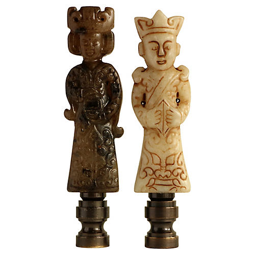 Chinese Sage Lamp Finials, Pair