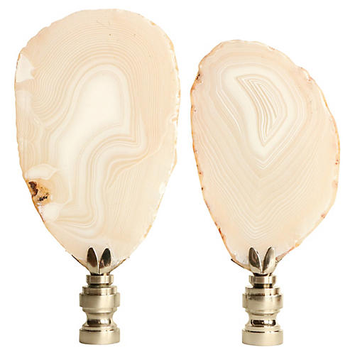 Fingerprint Agate Lamp Finials, Pair