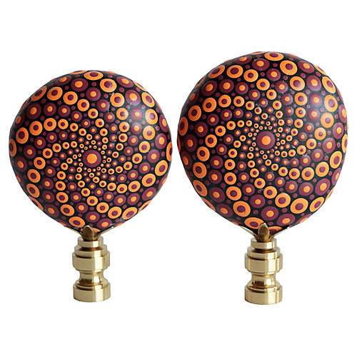 Mandala Stone Lamp Finials, Pair