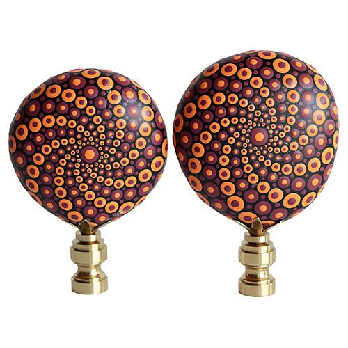 Mandala Stone Lamp Finials, Pair