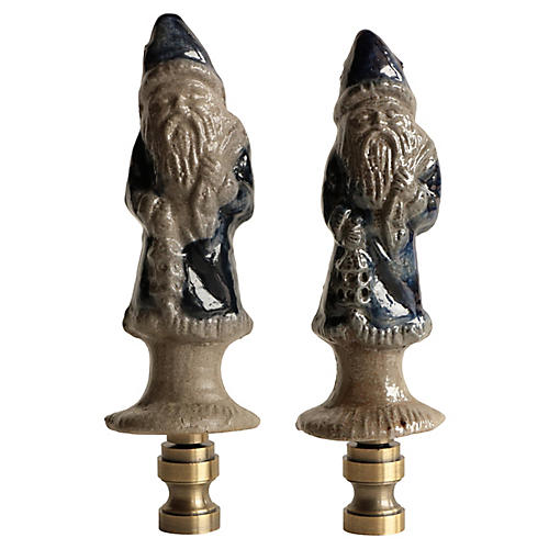 Salt Glazed Santa Lamp Finials, Pair