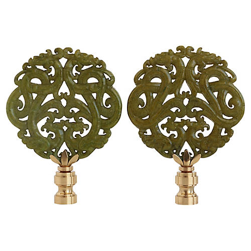 Stone Scroll Lamp Finials, Pair