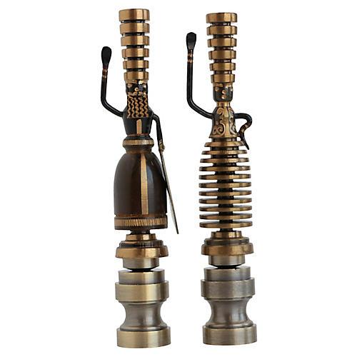 Blackened Brass Figural Lamp Finials
