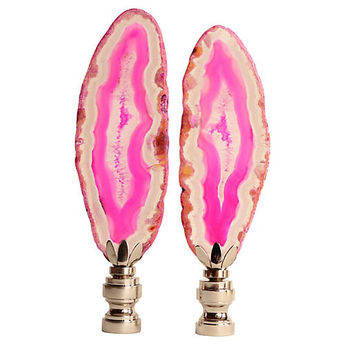 Matched Agate Slice Lamp Finials, Pair
