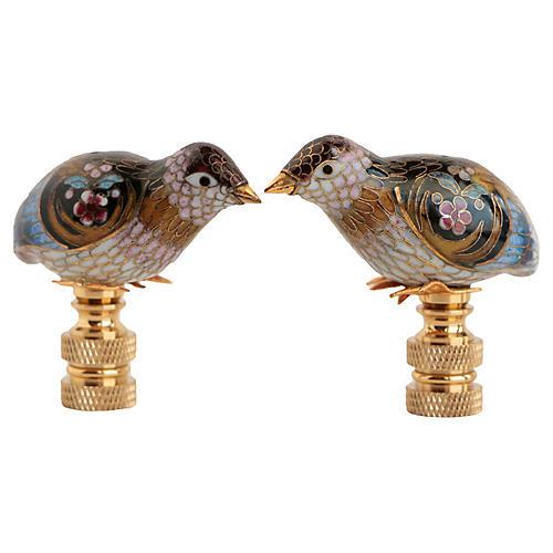 Cloisonné Quail Lamp Finials, Pair