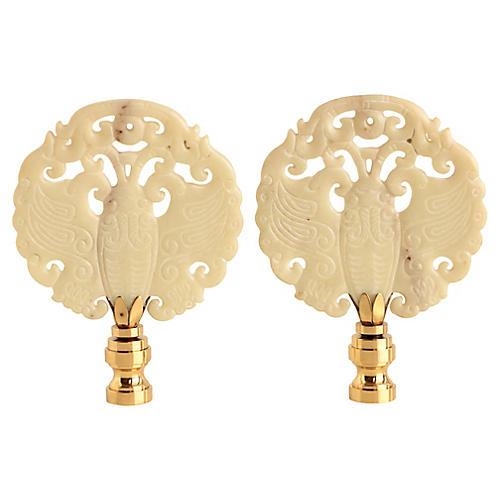 Asian-Style Butterfly Lamp Finials, Pair