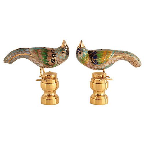Cloisonné Bird Lamp Finials, Pair