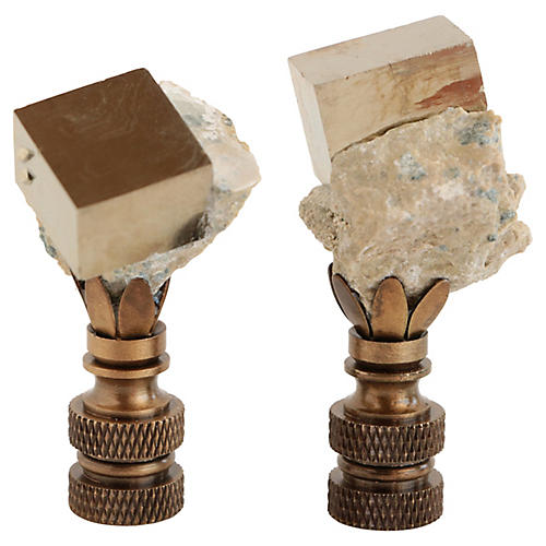 Pyrite Cube Lamp Finials, Pair