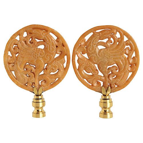 Blazing Phoenix Lamp Finials, Pair