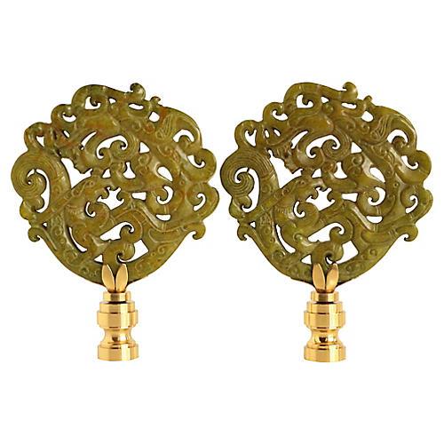 Chinoiserie Scroll Lamp Finials, Pair