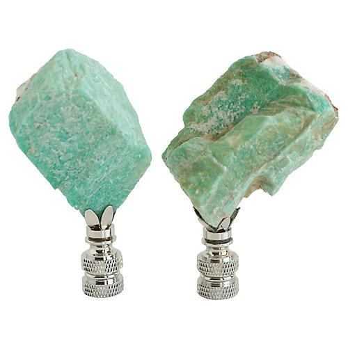 Amazonite Specimen Lamp Finials, Pair