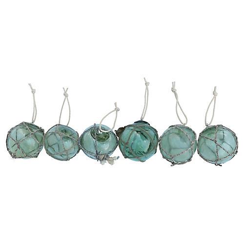 Glass Fishing Float Ornaments, S/6