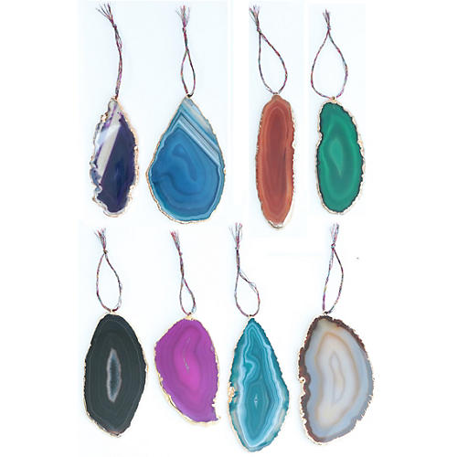 Gold-Plated Agate Ornaments, Set of 8