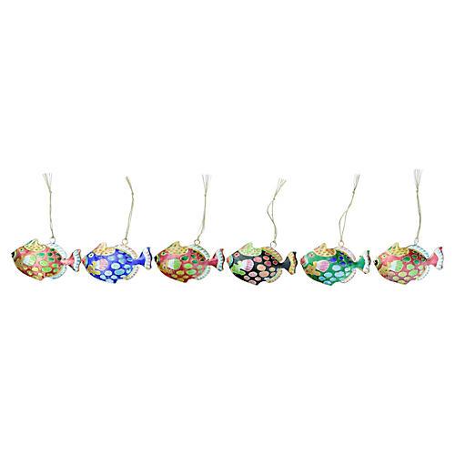 Cloisonné Spotted Fish Ornaments, S/6