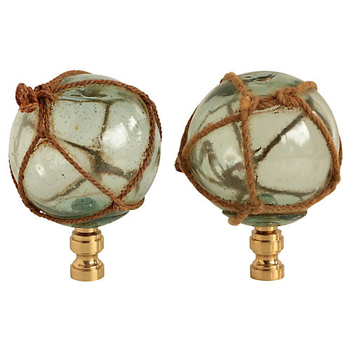 Nautical Netted Glass Lamp Finials, Pair