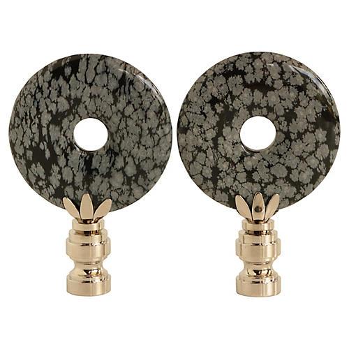 Snowflake Obsidian Lamp Finials, Pair