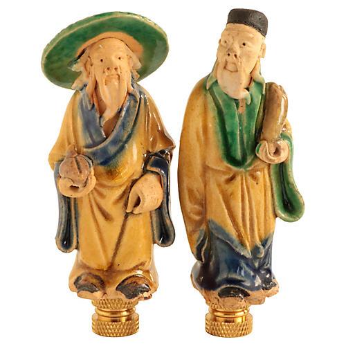 Chinese Figural Lamp Finials, Pair