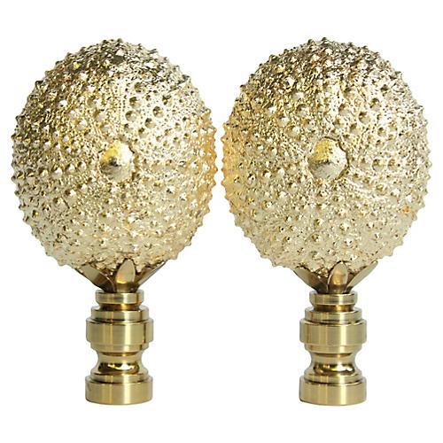 Gold Gilded Urchin Lamp Finials, Pair
