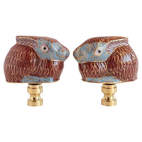 Cloisonné Rabbit Lamp Finials, Pair
