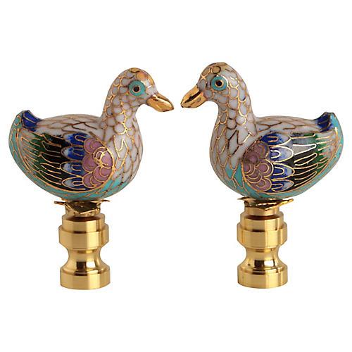 Cloisonné Duck Lamp Finials, Pair