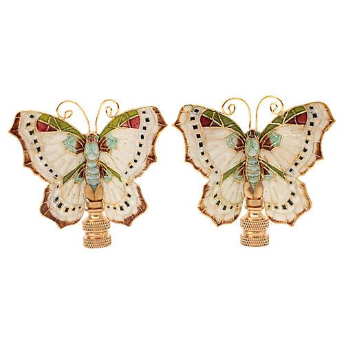 Cloisonné Butterfly Lamp Finials