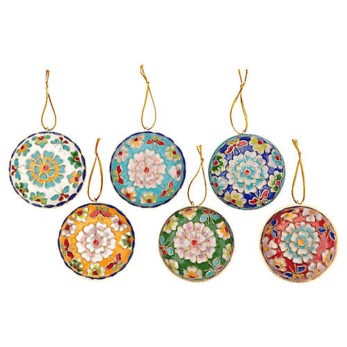 Champlevé Cloisonné Ornaments, S/6
