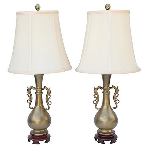 Dragon Handled Brass Table Lamps, Pair