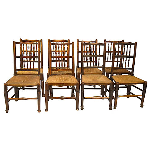 English Country Oak Chairs, S/8